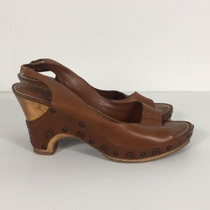 Frye Brown Leather Open Toe Sling Back Heels